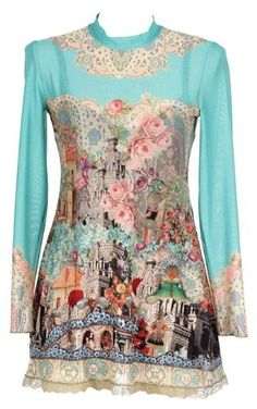 Michal Negrin Mandarin Collar, Long Sleeves Light Turquoise Tunic Dress Made with Victorian Inspired Motif, Swarovski Crystals and Lace Trim Edge; Handmade in Israel - Special Ordered and Shipped by Genuvo within 2 to 3 Weeks