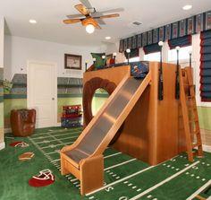 Custom Kids Urban Crazy Rustic Bedroom with Sport Printed Curtains . Kids High Beds, Urban Bedroom, Diy Slides, Bed With Slide, Wood Bedroom Furniture, Printed Curtains, Bedroom Paint Colors, House Beds, Cool Beds