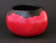 """Red and Black Bowl Very simply woodburned and painted with black and red ink dyes. 4.5 """" diameter  Corona Gourd Company"""