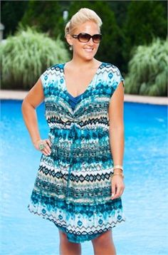 Women's Plus Size Cover Ups - Always For Me Cover Aztec Tunic