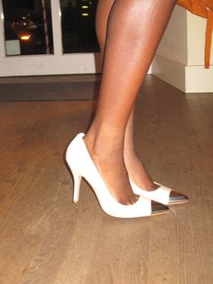 A seductive twist on the classic ivory pump, add in a polished metal toe cap. By Chinese Laundry $99.