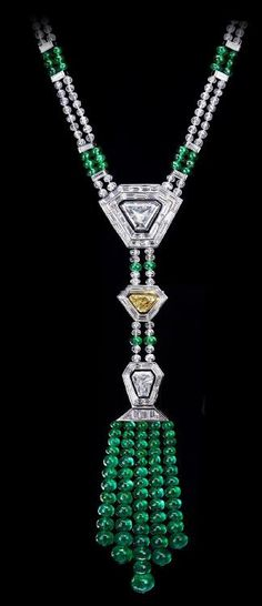 Necklace with a 3.27 Trapezoid-shaped diamond, a 1.02-carat vivid yellow trapezoid diamond and a 1.59-shield-shaped diamond with emerald and diamond beads throughout (110.00ctw). Stolen in Cannes on July 28, 2013, part of a $136 million jewel heist.