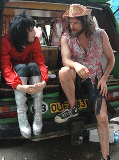 Noel Fielding created and starred in cult television show The Mighty Boosh and is pictured with Julian Barratt (left) who starred as Moon. Fielding is pictured as Vince Noir in a scene from the third series of the show Julian Barratt, Mighty Mighty, The Mighty Boosh, Noel Fielding, Prince Girl, English Comedians, Robert Smith The Cure, Through Time And Space, British Comedy