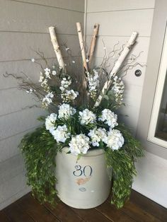 Red wing crock front porch decor spring summer
