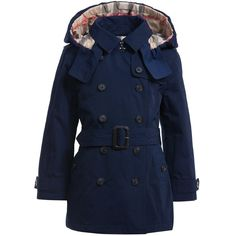 Girls Navy Blue Padded Trench Coat, Burberry, Girl