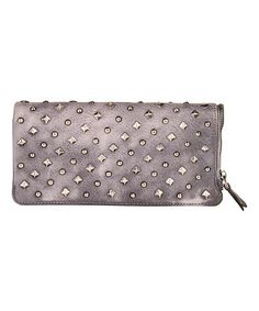 Look at this #zulilyfind! Gray Embellished Leather Wallet #zulilyfinds