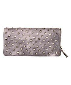 Look at this #zulilyfind! Gray Embellished Leather Wallet #zulilyfinds