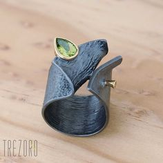 Midnight Dew Designer Ring. Oxidized Gold Plated Sterling Silver with Peridot…