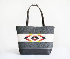 Light Gray Leather TOTE Bag / native pattern by lepetitchatrobin