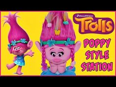 TROLLS Movie POPPY STYLE STATION Design a Hairstyle | Comb Barrettes Braids…