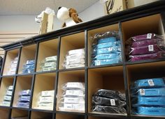 Packaged dress shirts at Winston's Men's Wear.