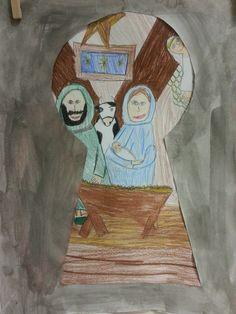 Kerst tekenen bovenbouw. Opdracht: wat zie jij door het sleutelgat van de kerststal?