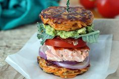 PaleOMG – Paleo Recipes – Salmon BLT & Avocado in a Sweet Potato Noodle Bun