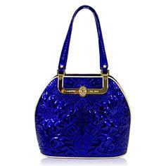 Valentino Orlandi Designer Cobalt Blue Embroidered Leather Gilded Bowling Bag - Handbag