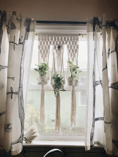 triple macrame for kitchen window. Made with cotton rope and Hawaiian bamboo pole and bead.macrame plant hanger, plant hanger, cotton rope , window hanger, house plants, succulents