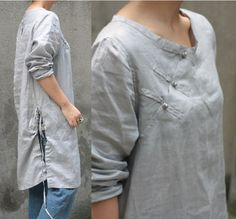 Chinese collar Drawstring Long Blouse With Silver Buttons/ 23 Colors/ Any Size