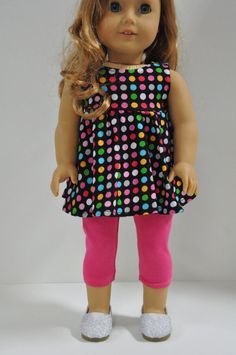 American Girl Doll Clothes Black Polka Dot Print by CircleCSewing