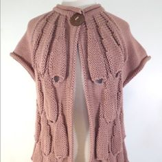 Anthropologie hand knit sweater(size XS/SM) Very good condition, beautiful dusty pink color. 100% cotton Anthropologie Sweaters Cardigans