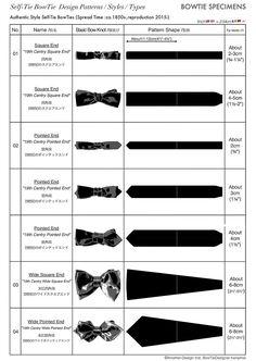 Self-Tie BowTie Styles Types Design Patterns,蝶ネクタイ,型紙,種類,手結び,ボウタイ