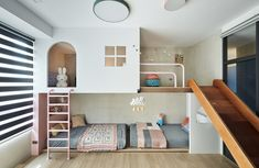 L'appartement d'un jeune couple à Taïwan par Hao Design The home of a young couple in Taiwan by Hao Design – DECO PLANET Girls Bedroom, Bedroom Decor, Cool Kids Bedrooms, Childrens Bedroom, Bedroom Furniture, Master Bedroom, Sweet Home, Kids Room Design, Kids Bedroom Designs