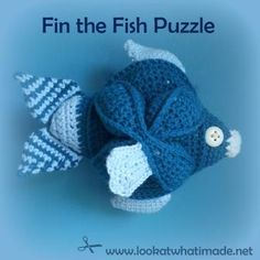 """Crochet Fish Puzzle Pattern: Fin is based on the Crochet Amish Puzzle Ball. He comes apart into 3 segments that have to be """"built"""" to form the fish."""