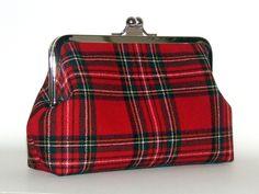 Royal Stewart Red Tartan Plaid Wool Clutch