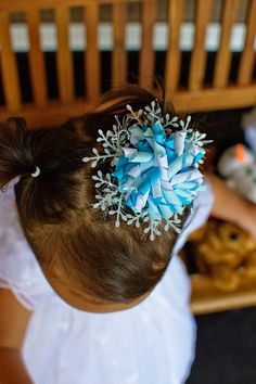 Winter Holiday Korker Snowflake Hair Bow You by KailanisBowtique, $6.50