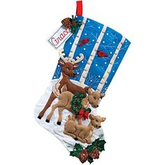 Bucilla Christmas Stocking Felt Applique Kit 86502 Deer Family ** Visit the image link more details. (This is an affiliate link) Felt Stocking Kit, Baby Stocking, Christmas Stocking Kits, Christmas Items, Christmas Crafts, Winter Stockings, Felt Christmas Stockings, Felt Christmas Ornaments, Deer Family