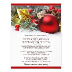 festive christmas wedding invitation