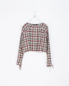 Image 4 of CHECKED TOP WITH BOWS AT THE CUFF from Zara