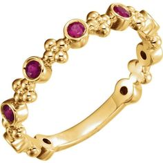 Genuine Rubies Gemstones Bezel Set Beaded Stackable Band Ring in 14K Yellow Gold #Stock16292XY #StackableBand #Birthday