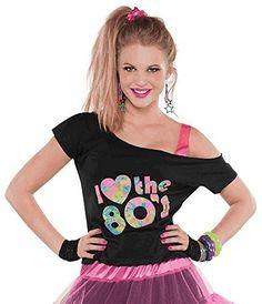 80s look - off-shoulder T-shirt, side ponytail, a stack of bracelets and tutu/petticoat skirt.