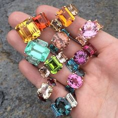 Jane Taylor candy colored rings exclusively on Moda Operandi