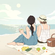 Korean Illustration, Beach Illustration, Friends Illustration, Beach Cartoon, Cartoon Art, Pretty Art, Cute Art, Cover Wattpad, Korean Painting