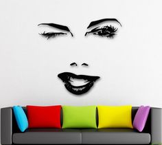 Wall Stickers Vinyl Decal Beautiful Woman Face Winks Sexy Lips Girl (ig1604)