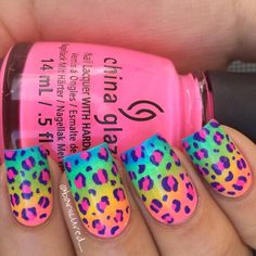 Want some ideas for wedding nail polish designs? This article is a collection of our favorite nail polish designs for your special day. Neon Nails, Love Nails, Diy Nails, Pretty Nails, Bright Nail Designs, Bright Nail Art, Kid Nail Designs, Bright Nails For Summer, Leopard Print Nails