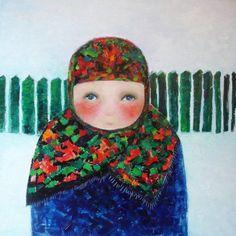 Ode to childhood – Cezara Kolesnik Artworks Art Plastique, Oil On Canvas, Illustration Art, Childhood, Crochet Hats, Portrait, Artworks, Paintings, Fashion