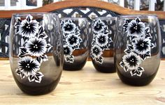 Hand Painted Black Glasses With Black and White by ipaintitpretty #handpaintedglasses #christmasgifts #paintedblackglasses #blackwhitefloweredglasses #uniquegifts