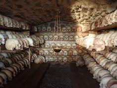 The skulls of Karakalou monks, Mount Athos, Greece.