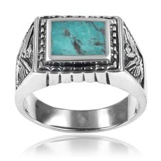 Vance Co. Sterling Silver Men's Turquoise Ring by Vance Co