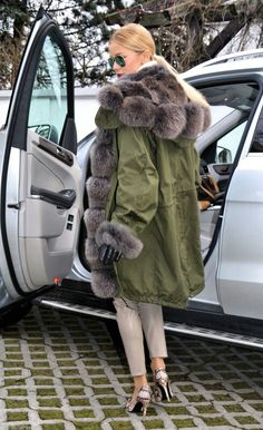 Fox fur-lined military parka
