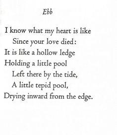 """Ebb"" Edna St. Vincent Millay"