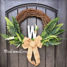 Beautiful spring and summer monogram grapevine wreath. You can order yours, just visit my FB page MiaEmmaLove.  #homedecor #decor #handmade #craft #crafty #spring #summer #burlap #wreath #MiaEmmaLove #monogram #chevron #love #diy #flowers #decorideas #diycraft #bow #grapewine #monogram #letter #metal #leaves