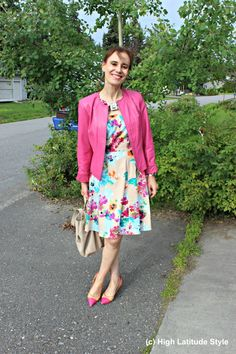 Nicol from the blog HIGH LATITUDE STYLE in the floral dress and the pink leather…