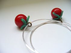 Christmas Earrings Handmade Glass Vintage Charms by kzannoart
