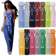 Women Causal Vestido Sleeveless Summer Dress Women's Sexy Ukraine Vestidos Woman Plus Size Cat Print Long Dresses 15 Colors