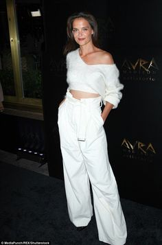 Beauty: Katie Holmes looked sensational as she posed for the Avra Madison grand opening party for Manhattan's newest Greek Eatery in New York on Thursday