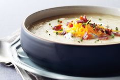 Potato, Cheddar and Chive Soup recipe - Canadian Living November 2012 (slow cooker) Slow Cooker Potatoes, Cooks Slow Cooker, Crock Pot Slow Cooker, Crock Pot Cooking, Slow Cooker Recipes, Cooking Recipes, Crockpot Recipes, Kitchens, Suppers