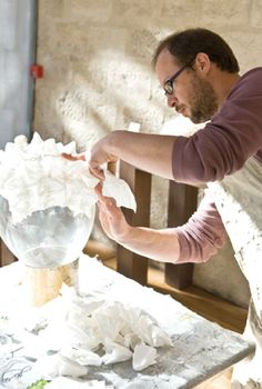 In the workshop with paper mache