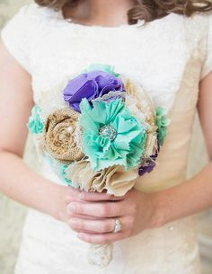 Romantic rustic ivory, mint, periwinkle and burlap bridal wedding bouquet.